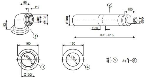 купить  Коаксиальный горизонтальный комплект (отвод + удлинитель) AZB 916 (60/100) - 1